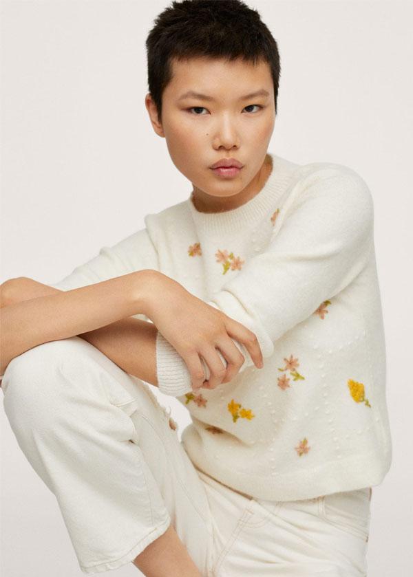 Mango Flowers knit sweater | Bordadinho Mania